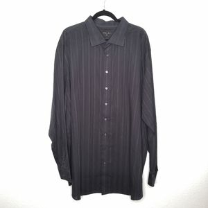Synrgy Black Pinstripe Button Down Dress Shirt 3XL